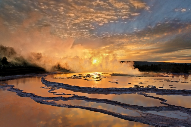 Sunset at Great Fountain Geyser